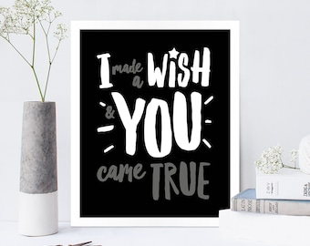 I Made a Wish Couples Print / Valentine's Day Print / Valentine's Day Gift / Anniversary Gift / Wall Art / FREE UK POSTAGE!
