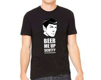 Spock Tee for Trekkies, Beer Me Up Scotty, St Patricks Star Trek, Comic T-Shirt, LJ #10