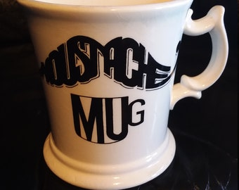 Vintage Mustache coffee mug/cup/beard/ceramic/barbershop/