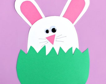 Bunny Hiding in the Grass Craft Template