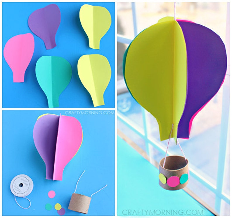 Balloon Template | 3d Spinning Hot Air Balloon Craft Template Etsy