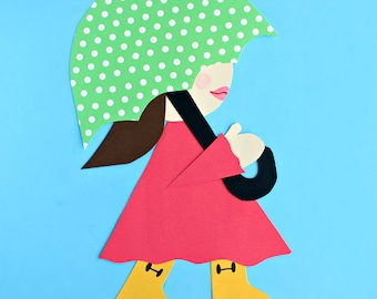 Girl in Rain Boots Craft Template