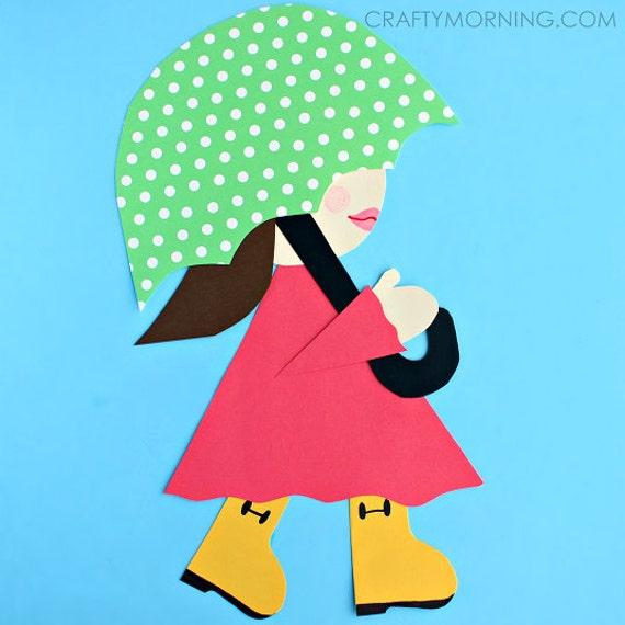 Girl in rain boots craft template etsy image 0 maxwellsz
