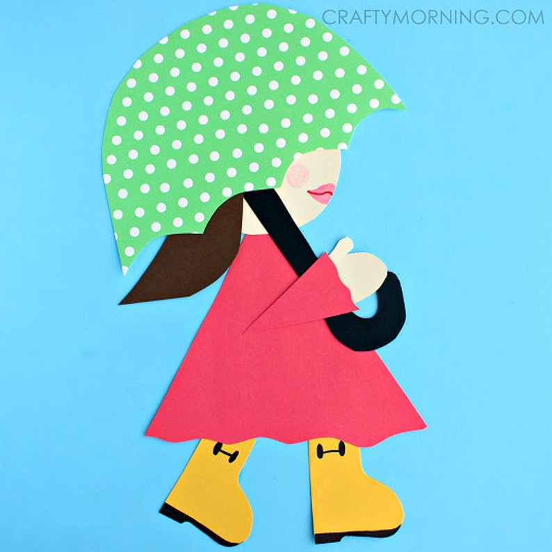 Girl In Rain Boots Craft Template Etsy
