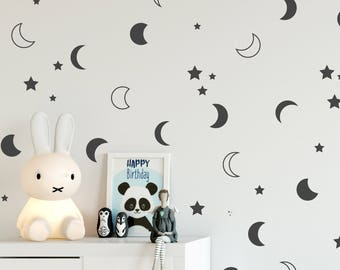 Moon and stars wall decals, Crescent moon wall decor, Nursery moon decal, Moon bedroom decal, Night sky wall decal, vinyl decals #142