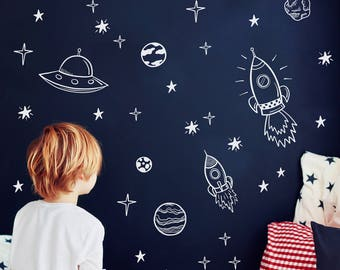 Space wall decals, Outer space nursery decor, Rocket ship decor, Astronaut wall decal, Planet decor, Kids space decor, Boy room decal  #141
