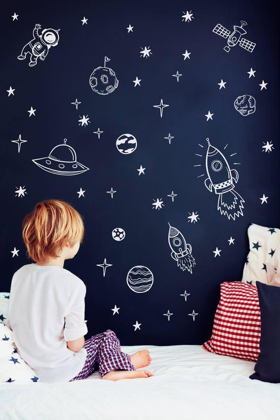 Platz Wandtattoo Weltraum Kinderzimmer Rakete Dekor, Wandtattoo Astronaut,  Planeten-Dekor, Kinder Raum Dekor, junge Zimmer Aufkleber #141