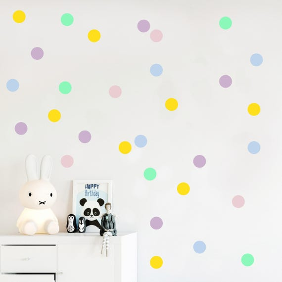 Pastel Dots Wall Decals Vinyl Dot Stickers Rainbow Confetti Sprinkle Pastel Nursery Decor Kids Room Decoration Mint Lilac Blush Pink