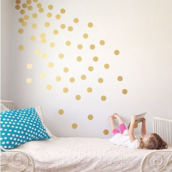 polka dot wall decal gold dots decals confetti stickers | etsy
