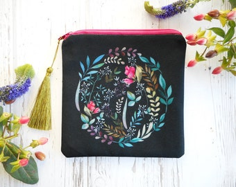 Floral zipper pouch, floral coin purse, boho purse, black cotton pouch, floral fabric, credit card holder, small makeup bag, gift for her