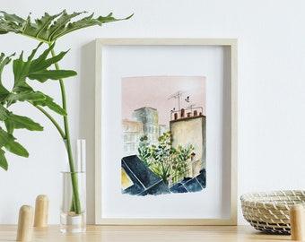 Aquarelle poster, Paris A4 poster, watercolour roofs of Paris, printed watercolor, photo paper