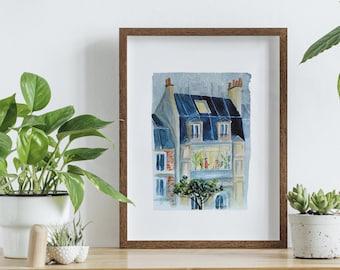 Watercolour poster Paris, poster A4, watercolor building Paris