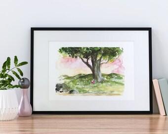 Landscape watercolour poster, watercolor poster A4, nature watercolor tree