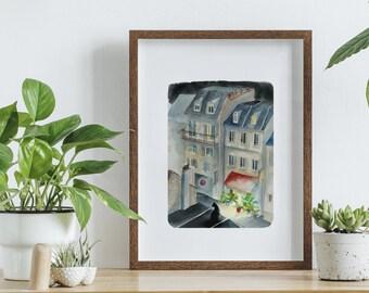 Poster Paris, printed watercolor, watercolour Paris, poster A4, Paris at night