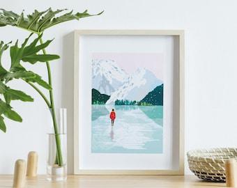 Poster A4 Glacier, displays digital landscape painting mountains