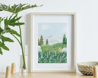 Landscape poster, digital nature painting, poster A4, painting flowers and mountains