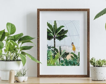 Poster A4, poster paint greenhouse plant, digital painting nature, slowlife, poster boho