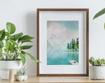 Poster landscape painting mountain, poster A4, wall decoration, digital painting nature