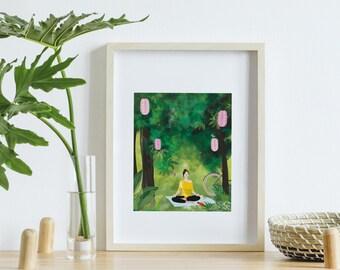 Meditation poster, yoga illustration, Zen digital painting, nature painting poster