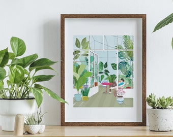 Poster painting plants, plant greenhouse, reproduction digital painting, poster A4