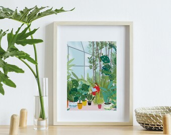 Poster poster format A4, digital painting The greenhouse