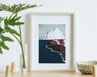 Poster A4 landscape Norway, digital landscape glacier painting, country poster