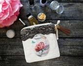 Coin purse boho, shabby coin pouch, small purse, lace cotton coin bag, cute zipper coin purse, rose watercolor fabric, idea gift for her