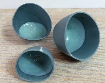 Hand Made Beach Inspired Porcelain Pebble Vessels Set Of 3