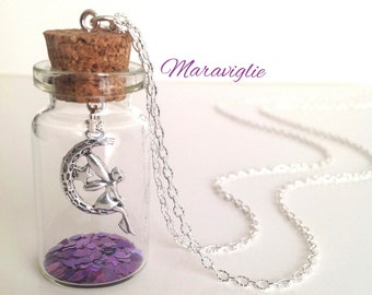 Tinkerbell in a Glass Bottle Necklace,Fairy Necklace, Peter Pan Jewelry, Fairy Jewelry, Glass Vial Necklace, Tinkerbell Necklace
