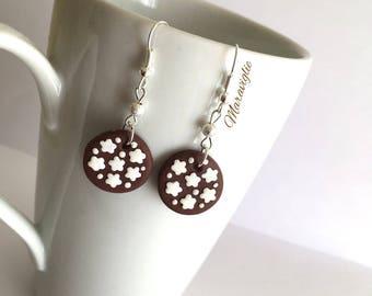 Cookies Earrings, Polymer Clay Earrings, Kawaii Jewelry, Miniature Food Earrings, Fimo Jewelry, Food Earrings