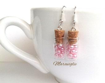 Candy Bottle Earrings, Candy Jar Earrings, Glass Bottle Earrings