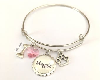 Personalized Dog Bracelet, Dog Lover Bracelet, Dog Bangle Bracelet, Dog Name Jewelry, Dog Lover Gift