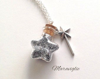Glitter Bottle Necklace, Pixie Dust Potion Bottle, Make a Wish Necklace, Magic Wand Necklace