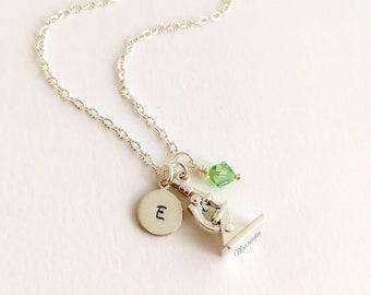 Microscope Necklace, Microscope Jewelry, Initial Necklace, Personalized Biology Jewelry, Science Jewelry, Graduation Gift,