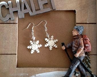 Snowflake Earrings, Snowflake Jewelry, Polymer Clay Earrings, Dangle Earrings