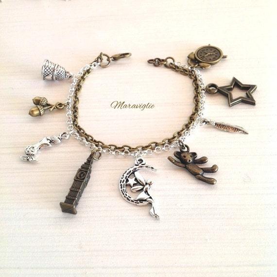 Tinkerbell Charm Bracelet: Peter Pan Charm Bracelet Tinkerbell Jewelry Neverland