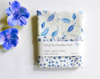 Organic Handkerchief; Set or Singly; Ferns and Bracken