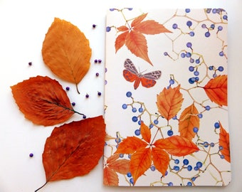 Vines & Moths, Orange and Beige - Recycled A5 Lined Notebook