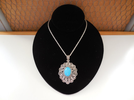 BIG SALE NEW STERLING CHAIN -HANDCRAFTED TURQUOISE/&ENAMEL TEARDROP NECKLACE