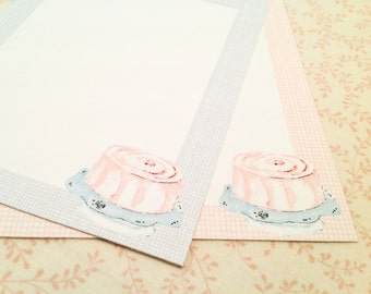 Flat Note Cards-Gingham Cards Blank Cards-Set of 10