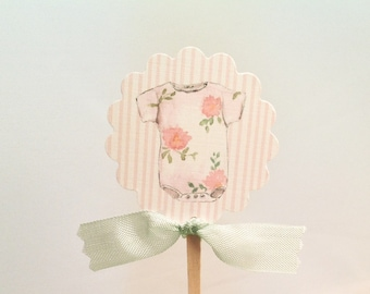 Baby Shower Cupcake Toppers- Baby Girl Pink Floral Shabby Chic Theme Shower Toppers Food Picks-Set of 12