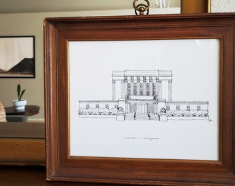 Mesa, Arizona Temple LDS Print - Hand Drawn