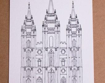 Salt Lake City, Utah Temple Line Drawing, reproduction