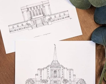 Gilbert, Arizona Temple LDS Print - Hand Drawn