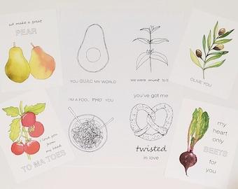Foodie Valentine Cards Printables, Set of 2 Color or B+W