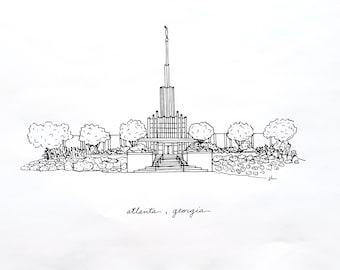 Atlanta, Georgia Temple LDS Print - Hand Drawn