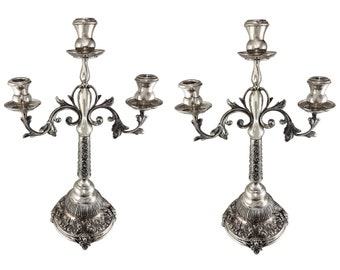Pair of vintage hallmarked, solid silver (.900) 3 lights candelabras