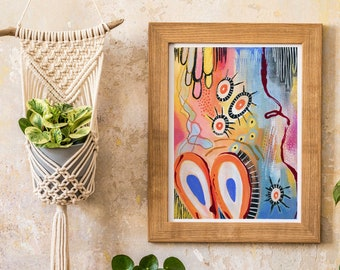 """PREORDER PRINT 2 - 11x14"""" Mixed Media Gouache Watercolor Handpainted Handmade Abstract Painting Reproduction Print"""