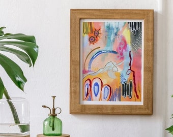 """PREORDER - Print 1 - 11x14"""" Mixed Media Gouache Watercolor Handpainted Handmade Abstract Painting Reproduction Print"""