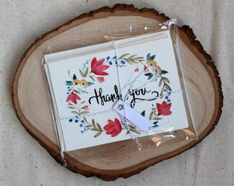 Floral Watercolor Thank You Card Set of (4)
